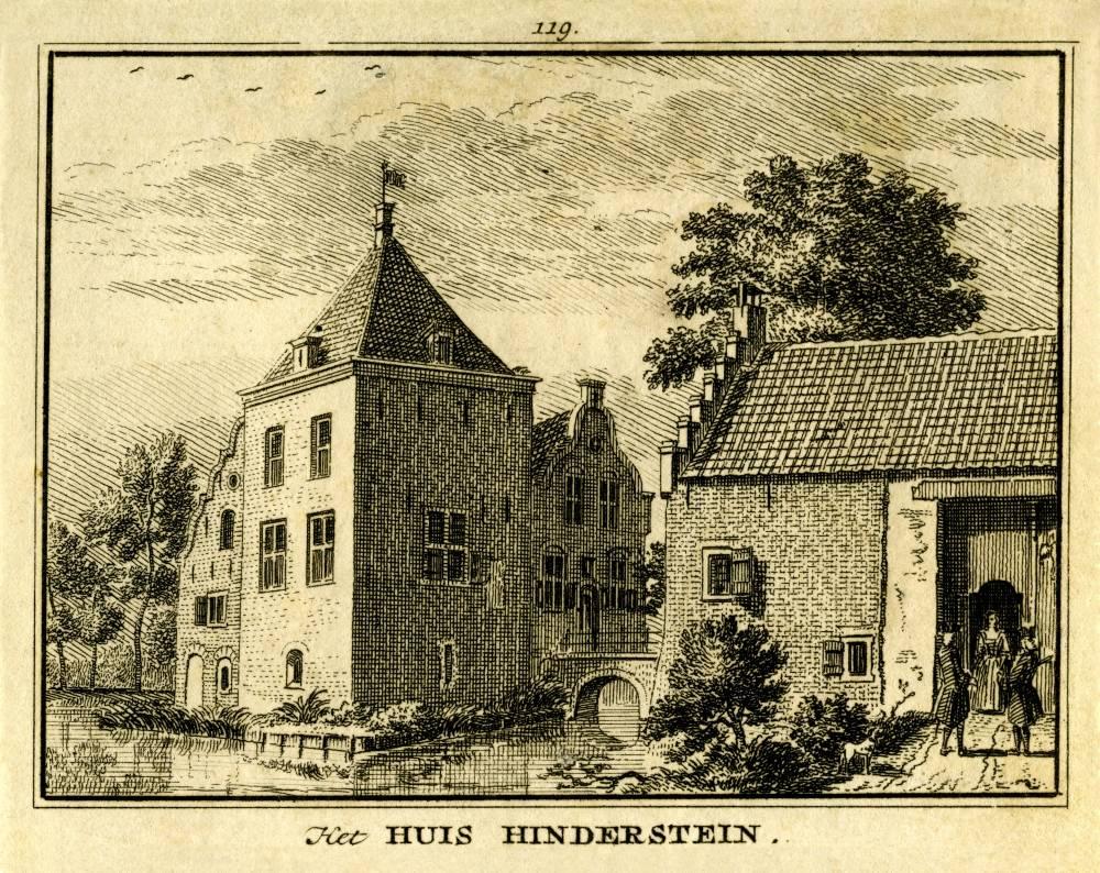 Hinderstein in Langbroek. Tekening Jan de Beijer, gravure Hendrik Spilman(Uit: Het Verheerlykt Nederland, Isaac Tirion, 1745/1774)